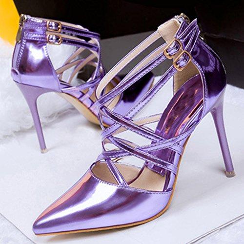 Azbro Women's Pointed Toe High Heels Stiletto Cross Sandals Purple