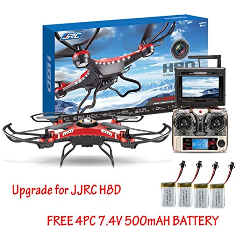 JJRC® H8D 5.8G FPV 6 Achsen-Gyro RC Quadcopter Headless Modus One Key Profit Drone mit 2.0MP Kamera, LCD FPV-See, 33 x 33 x 11cm, Mit 4 Ersatz 500mAh battaries