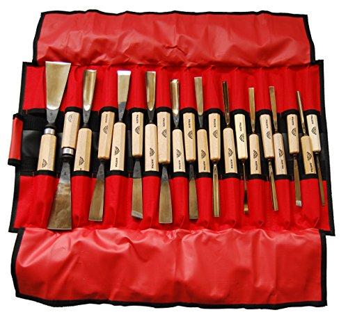 Stubai 510220 Bildhauereisen Profis. Rolltasche rot 20-Teilig, Medium, Stück