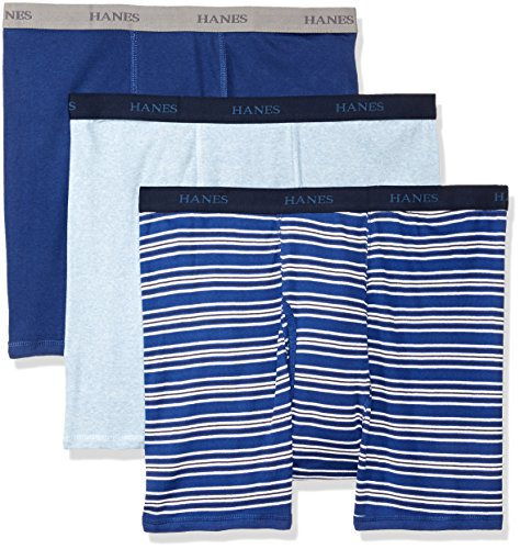 Hanes Men's Ultimate 3-Pack Big and Tall Boxer Brief, Stripe, XXXL (Boxer And Briefs Big Tall)