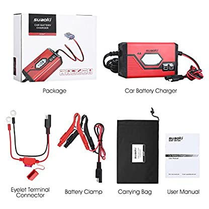 51RNrUmFw6L. SS416  - SUAOKI - Cargador de Baterias Coche, Moto, 4A, 6/12V, Mantenimiento Automático e Inteligente, 8 Cargas Etapas Identificación, Carga Segmentada con Múltiples Protecciones Para Coche, Camión, Moto