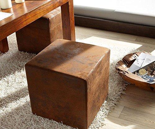DELIFE Sitzhocker Dado Braun 45x45 cm Antik Optik Hocker Sitzwürfel