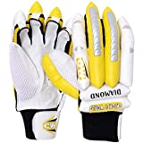 "CW""Diamond"" Premium Quality Leather Made Batting Gloves For Right Handed Players Ideal For 7 To 13 + Yr Players (Boys/Youth/Men's)"