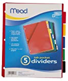 Mead 20038 Tab Dividers with Pocket, Ass...
