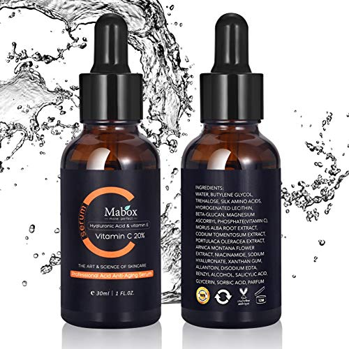 1 Stück Vitamin C + Hyaluronsäure Serum, Anti-Falten Whitening Vitamin-E Bio Gesichts Serum Hautpflege Essenz von Pretty Comy