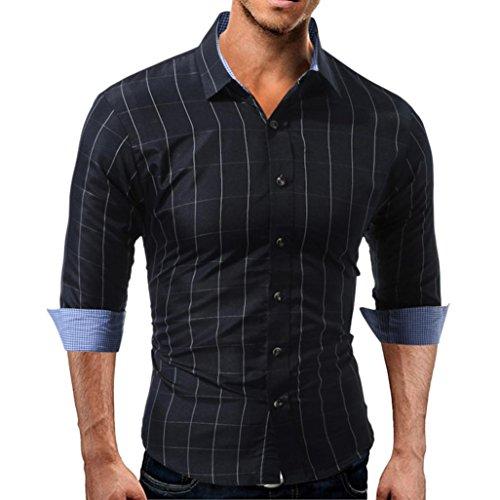 friendGG❤️❤️Herren Tops Herrenhemd Männer Tops Männer Lange Ärmel Oben Herbst Shirt Lässiges Oberteil Schmale Passform Kariertes Hemd Knopfhemd Oberteil Baumwollmischung Bluse