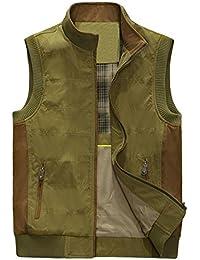 ZGJQ Chaleco informal de la moda del cuello de la moda de los hombres Chaleco multi del bolsillo Chaleco ocasional al aire libre del chaleco de la primavera del hombro (Color : Verde, Tamaño : XL)