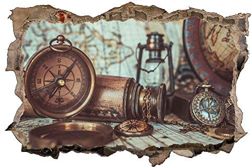 Kompass Karte Antik Retro Wandtattoo Wandsticker Wandaufkleber D0982 Größe 60 cm x 90 cm -