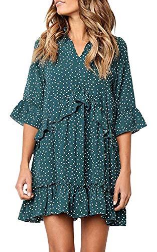 ECOWISH Damen Kleid V Ausschnitt Rüschen Punkte Sommerkleider Halbarm Mini Strandkleider Casual Lose T-Shirt Kleid Grün XXXL -