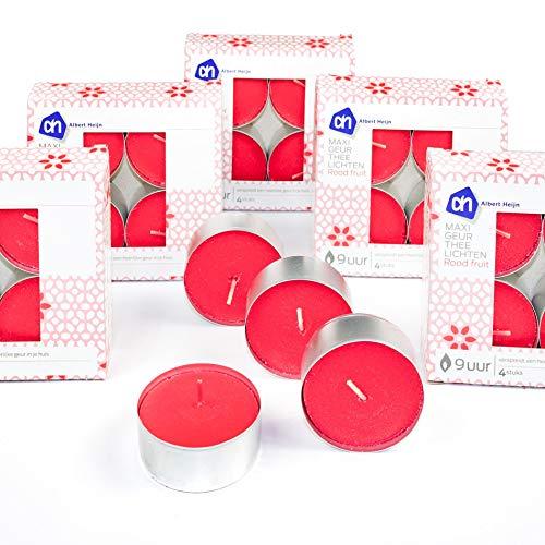 Albert Heijn B.V. 24x Maxi-Duftteelichter, Teelicht, Teelichter, Duftkerze, Kerzen, Wachskerzen, Brenndauer 9 Stunden (Rote Früchte/Rot)