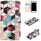 Nadoli Hülle für iPhone 5S SE 5,PU Leder Wallet Tasche Handyhülle Schutzhülle Schale Bookstyle Ständer Kartenfach Brieftasche Case Cover,Bunt Quadrat