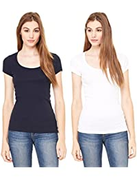 Fashion Line Premium Quality Stylish Printed Round Neck T Shirts For Women _Color : Black and White _Material : Cotton (Pack of 2 )