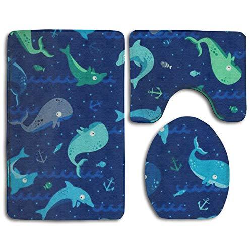 Pads bag Designer Badezimmer Teppich Matten Set 3 Stück Badezimmer Teppiche einzigartige Badezimmer Sets Anti-Rutsch-WC-Matte Set (gelbe Zitronen)