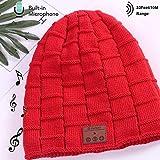 Bluetooth Earphone Beanie Hat, Smartphone Männer Frauen Winter Outdoor Wireless Bluetooth Stereo-Musik Hat, Für iPhone,Red