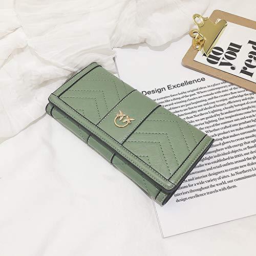 LYINHGL Damen Lange PU Leder Brieftasche Snap dreifach Kartenpaket Kupplung, grün -