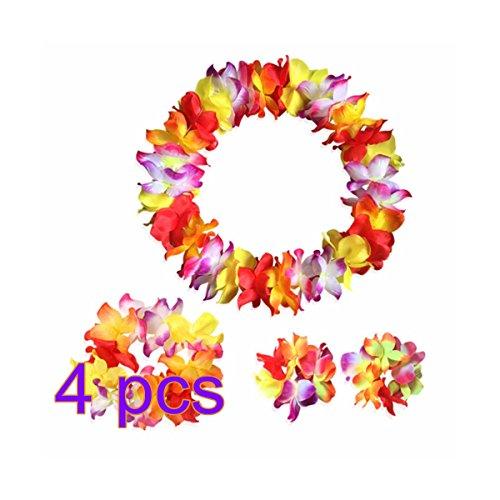 70b5f0056bf4 LUOEM Collar de la guirnalda de la venda del collar de la guirnalda de la  flor de Hawaii Bangle fijado para el partido de la playa del partido de  Luau del ...