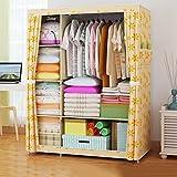 Greawei@ Falten einfacher Kleiderschrank Tuch Stahlrahmen Tuch Kleiderschrank Aufbewahrungsbox Einfache moderne Wirtschaft Schlafzimmer Einbauschrank Einfache Installation ( Farbe : A )