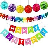 Wenet Banner de Feliz cumpleaños con panales de Papel y decoraci
