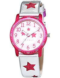 Esprit Mädchen-Armbanduhr Glittering Dance Silver Analog Quarz Leder ES103524020