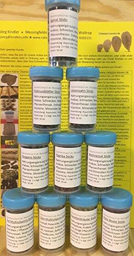 10 x 50ml Futtersticks in praktischer Schraubdose Futterpellets Garnelenfutter Fischfutter (Brennnessel, Karotte, Löwenzahn, Oregano, Paprika, Rote Beete, Spinat, Walnuss, 7er und 12er Multivitamin)