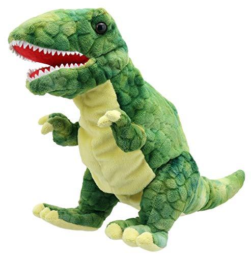 Lashuma Plüsch - Handpuppe Dinosaurier T-Rex grün | Plüschtier Theaterpuppe ca. 28 cm