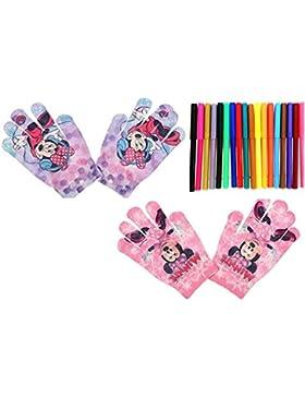 2 pares de guantes elasticos diseño Minnie (talla unica) 3-8 años + regalo de 18 rotuladores multicolor