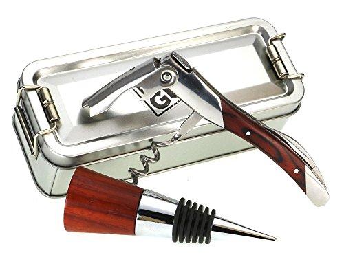 Tapón de botella Madera de Paduk + cuchillo de camarero sacacorchos + Caja plegable