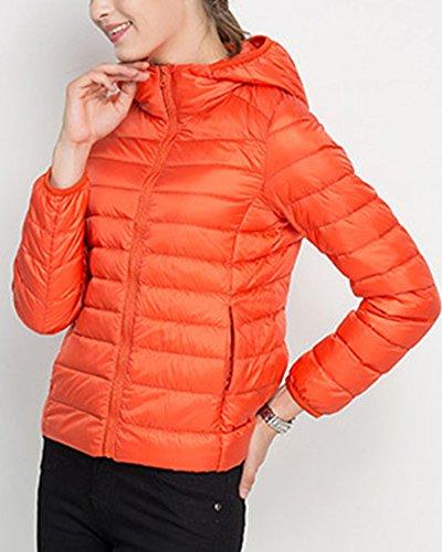 Piumino Inverno Donna Ragazze Manicotto Lungo Del Cappotto Con Cappuccio Orange