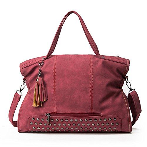Myleas Women Top Handle Satchel Sacs à main Sac à bandoulière sac à main Rouge