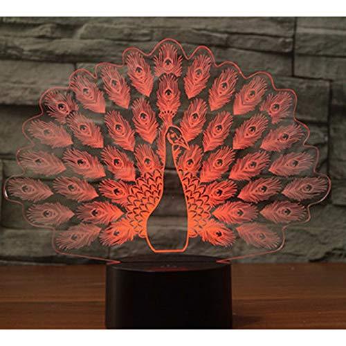 YDBDB 3D führte Nachtlicht-Pfau, der seinen Schwanz-Pfau mit 7 Farben-Licht für Hauptdekoration-Lampe zur Schau stellt Erstaunliche Sichtbarmachung optisch