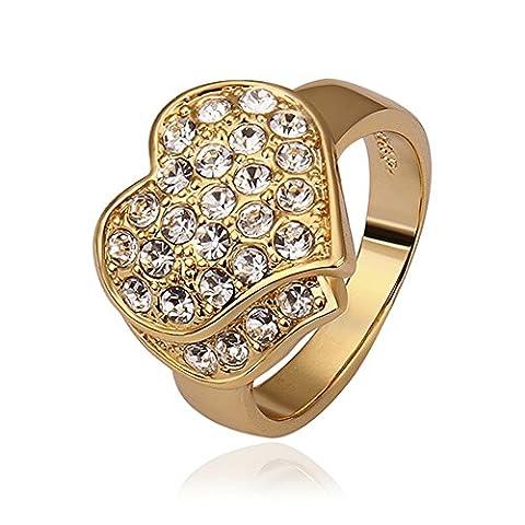 nykkola Fashion 18K plaqué or jaune Jewelry Bague cœur Bague Fiançailles en cristal (Oro Giallo Mens Wedding Band)