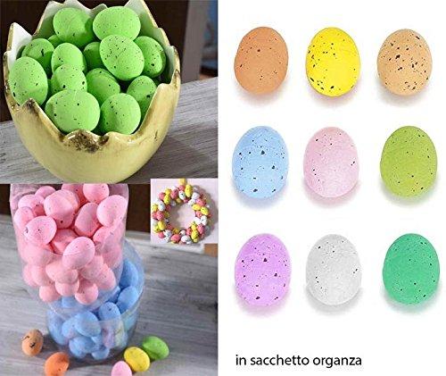 Takestop® set 48 pezzi uova uove polistirolo colori colorate in sacchetto organza ovetti pasqua addobbi decorazioni decorazione decoupage