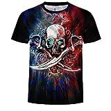 Blwz T-Shirt Uomo Manica Corta Summer 3D Machete Skull Stampa Unisex Coppia Adolescente Mezza Manica Casual Tees Youth S-3XL, XL, A