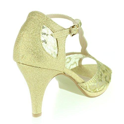 Frau Damen Detail Offener Zeh Durchschauen Diamant Mittlerer Absatz Abend Party Hochzeit Abschlussball Braut Sandalen Schuhe Größe Gold