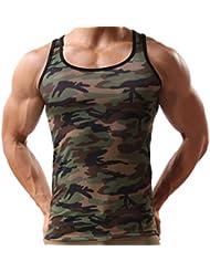 Elonglin Homme Camo Gilet Militaire Gilet de Sport Camouflage Débardeur Shirt Sans Manches Maillot de Corps Top Slim