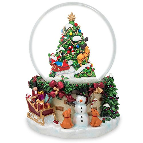 & Dogs Watching Santa Musical Snow Globe ()