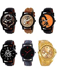 NEUTRON Modern 3D Design Mahadev Damru Hanuman Ganpati Black Blue And Brown Color 6 Watch Combo (B24-B25-B26-B27...