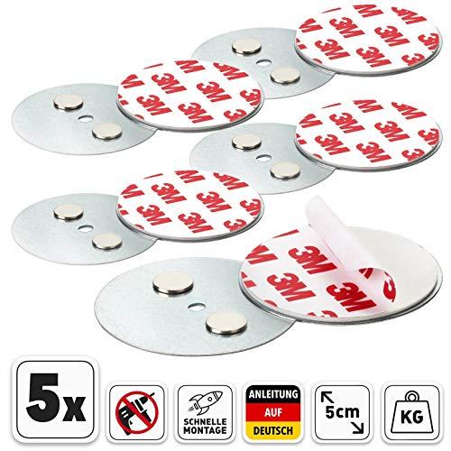 Rauchmelder Magnethalter mit 50mm Ø - 5er Set - Selbstklebend für klein und Mini Rauchmelder - 3M Klebepads mit Magnethalterung zur einfachen Befestigung ohne Bohren und Schrauben