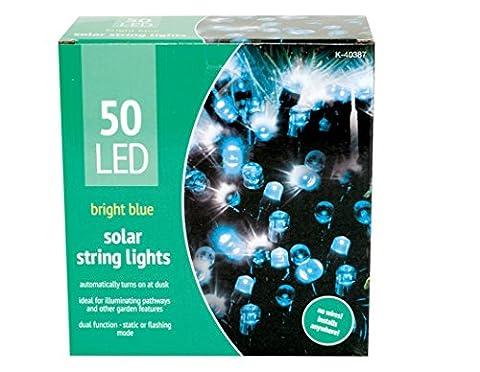 50 LED Solar Bright Blue Solar String Decorative Outdoor Garden Fairy Lights