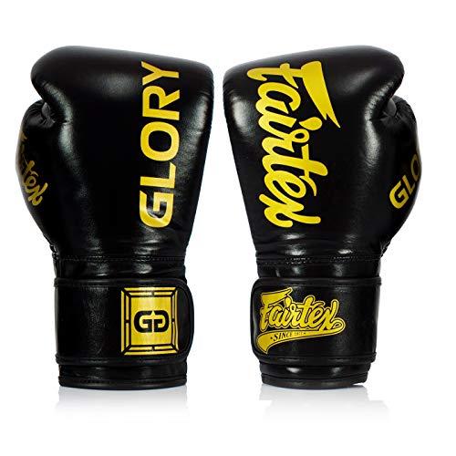 Fairtex Boxhandschuhe X Glory - Schwarz - Boxhandschuhe für Kickboxen Sparring Muay Thai aus Leder - Handgefertigt in Thailand - Offizielle Glory Kickboxing Boxhandschuhe (12oz)