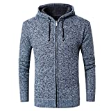 URSING Herren Casual Fleece Hoodie Sweatshirt Outwear Tops Pullover Herbst Winter Sport Freizeit Mantel mit Reißverschluss Kapuzenpulli Klassisches Übergangsjacke Cardigan (Blau,L)