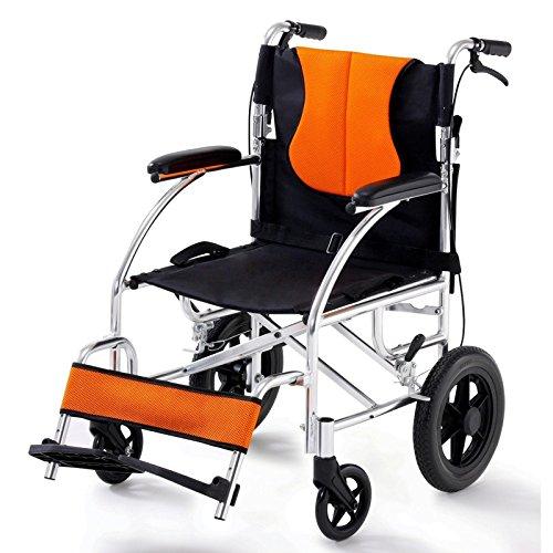 Dbtxwd Silla De Ruedas Plegable De Aluminio Portátil Silla De Ruedas De Viaje Autopropulsado Para Personas Mayores Con Discapacidad,Orange