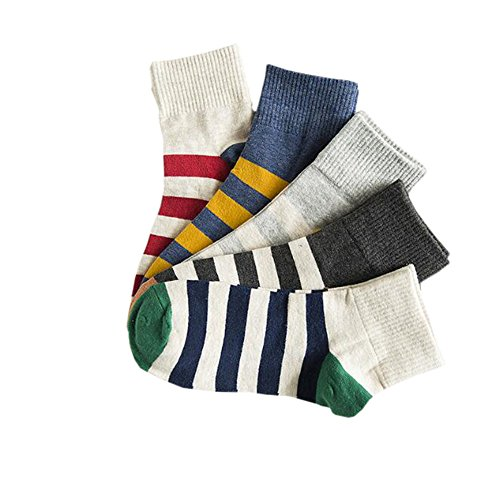 ECHERY Zufällige Mischung aus 5 Paaren Frauen Turndown Kragen Streifen Socke Casual Winter Knöchel Stiefel Socken (Stiefel Kragen Knöchel)