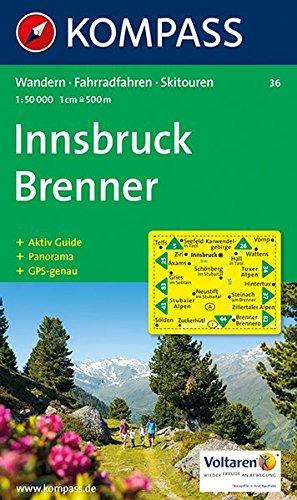 Carta escursionistica n. 36. Austria. Tirolo... Innsbruck, Brenner 1:50.000. Con carta panoramica. Adatto a GPS. Digital map. DVD-ROM. Ediz. bilingue: Wandelkaart 1:50 000
