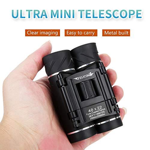 CHUSHENG 40X22 Fernglas, Mini kompaktes und leistungsstarkes Faltteleskop mit wasserdichtem Gehäuse, geeignet für Kinder/Erwachsene/Outdoor-Vogelbeobachtung/Tourismus/Camping usw. (schwarz) - 1000 Fiber Optic