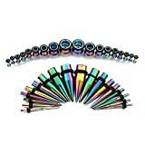 36pc Rainbow Titanium Ear Gauges Kit Stainless Steel Tapers with Plugs 14G-00G Stretching Kit - Vcmart