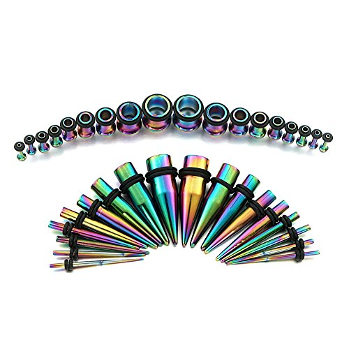Vcmart 1 Set Tunnel Estensore Plug Piercing Orecchio Tappo e 1 Set Stretching Dilatatori Taper 14G - 00G Colore Iride Rainbow - 18 Paia