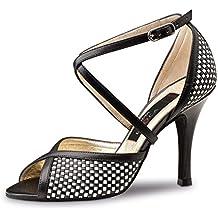 Nueva Epoca–Mujer Tango/Salsa Zapatos de baile Simona–Piel Negro/Blanco–8cm, negro/blanco, UK 4   EUR 37 1/3
