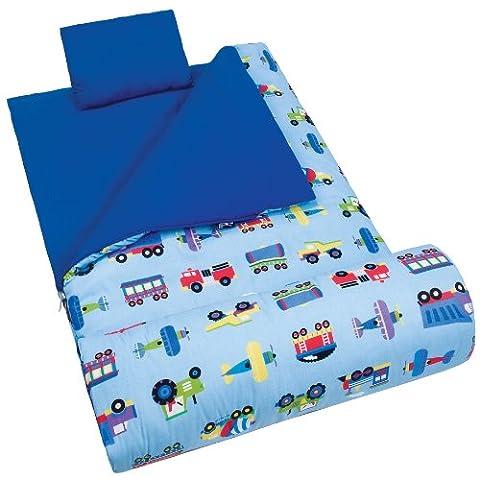 Wildkin Kids Sleeping Bag / Nap Mat/Slumber Bag (Olive Kids Trucks and Planes)