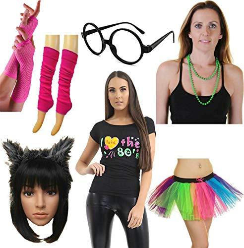 Damen Beinwärmer, Handschuh, Stirnband, Brille, Top, Partykleidung, Rock, Set - - Klein
